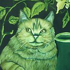 Green Kitty Cat Still Life by TeAnne