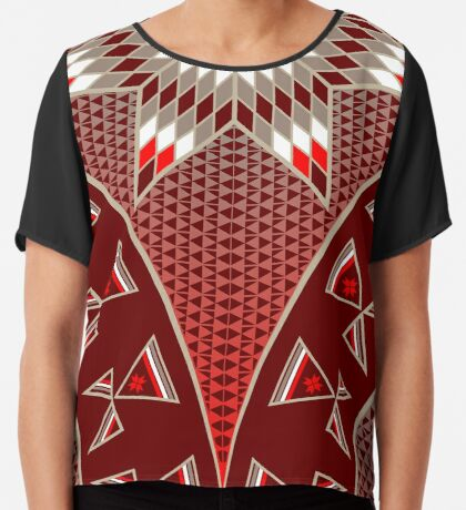 Morning Star with Tipi's (Red) Women's Chiffon Top