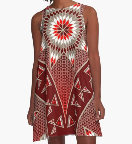 Morning Star with Tipi's (Red) A-Line Dress