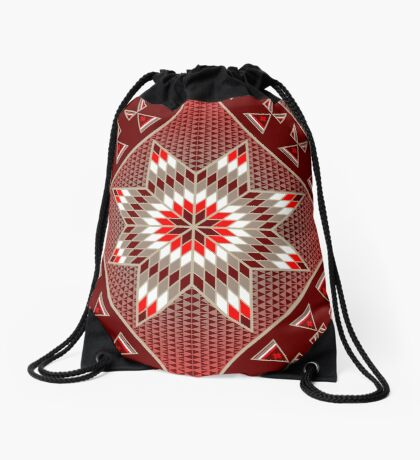 Morning Star with Tipi's (Red) Drawstring Bag