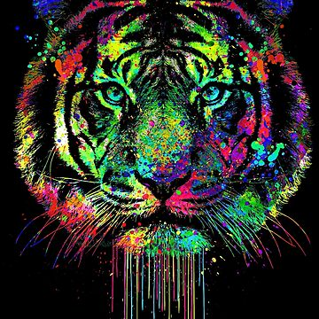 Colorful Dripping Tiger by clingcling