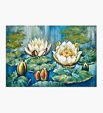 oil painting water lilies Photographic Print