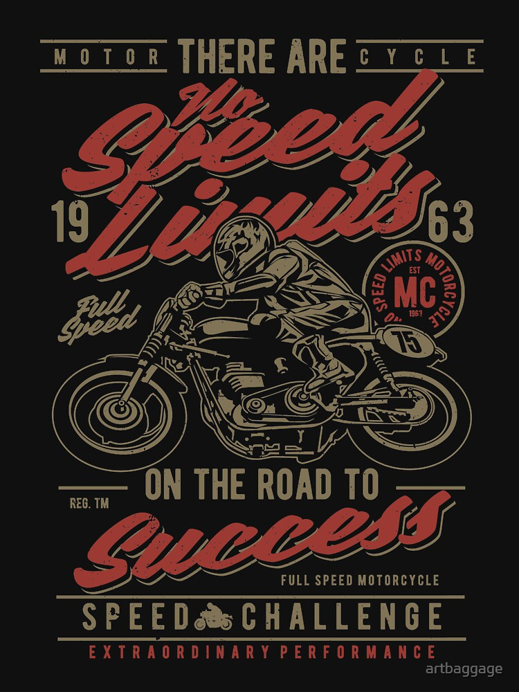 Full Speed Motorcycle Vintage T-shirt by artbaggage