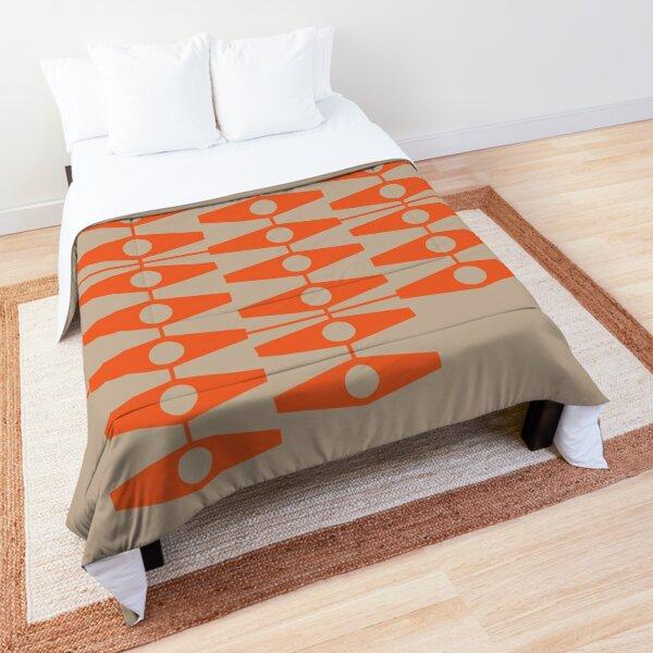 abstract eyes pattern (mix & match orange tan) Comforter