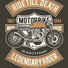 Motorbike Legendary Rider Biker T-shirt by artbaggage