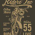 Riders Inc Custom Motors Motorcycle Vintage T-shirt by artbaggage