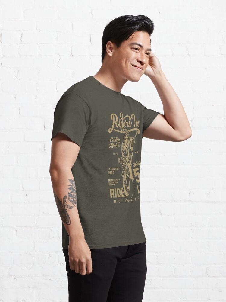 Alternate view of Riders Inc Custom Motors Motorcycle Vintage T-shirt Classic T-Shirt