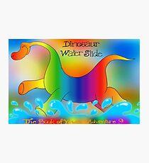 Dinosaur Water Slide, The Book of Yawns, Adventure 9 splash Photographic Print