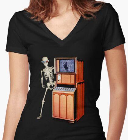 SQUELETTE SCOP' T-shirt col V femme