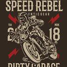 Speed Rebel Custom Motor Motorcycle Vintage T-shirt by artbaggage