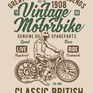 Vintage Motorbike Classic British Biker T-shirt by artbaggage
