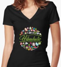I Am A Hikeaholic - Hiking Nature Wanderlust forest Women's Fitted V-Neck T-Shirt
