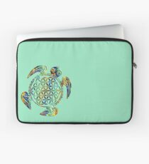 Flower Of Life - Sea Turtle - Green Blue Orange Laptop Sleeve