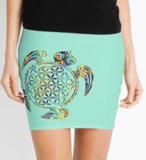 Flower Of Life - Sea Turtle - Green Blue Orange Mini Skirt