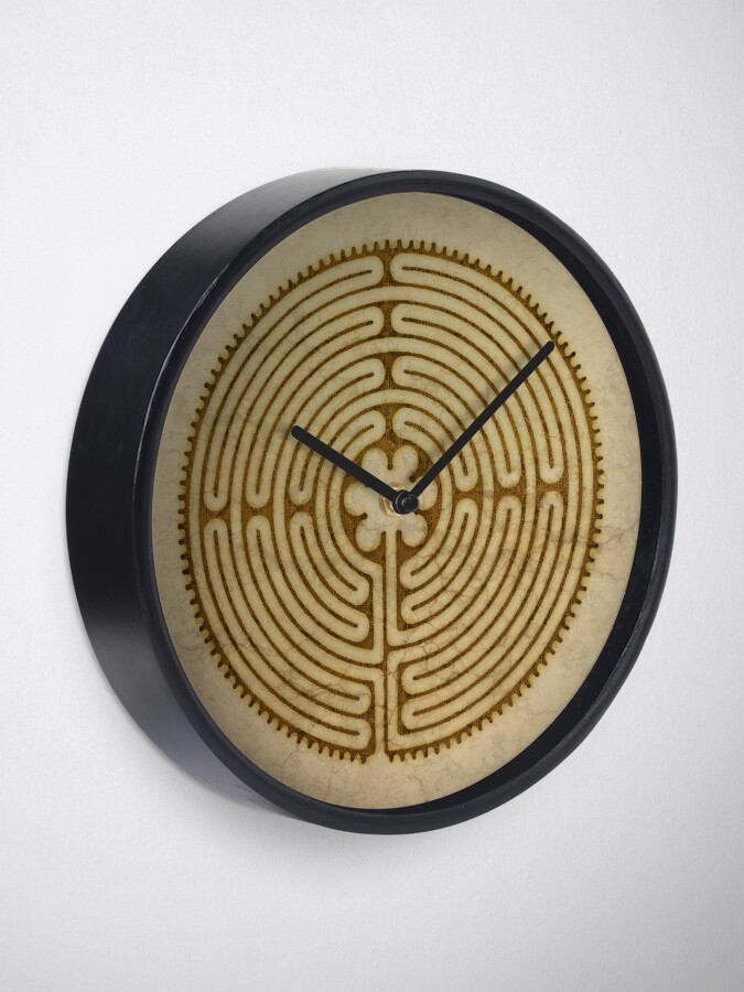 Alternate view of Symbol Chartres Labyrinth Metal Antique Grunge Style Clock