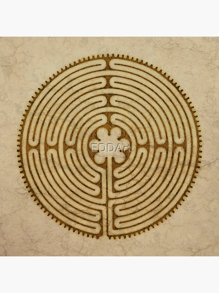 Symbol Chartres Labyrinth Metal Antique Grunge Style by EDDArt