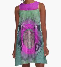 Mystic Wings - Purple and Green A-Line Dress