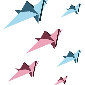 Origami Japanese Pink and Blue Paper Folded Crane Pattern by studio-gj