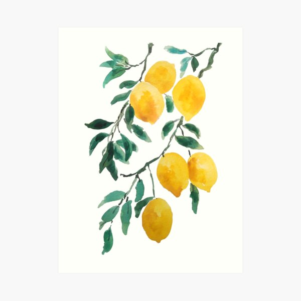 gelbes Zitronenaquarell Kunstdruck