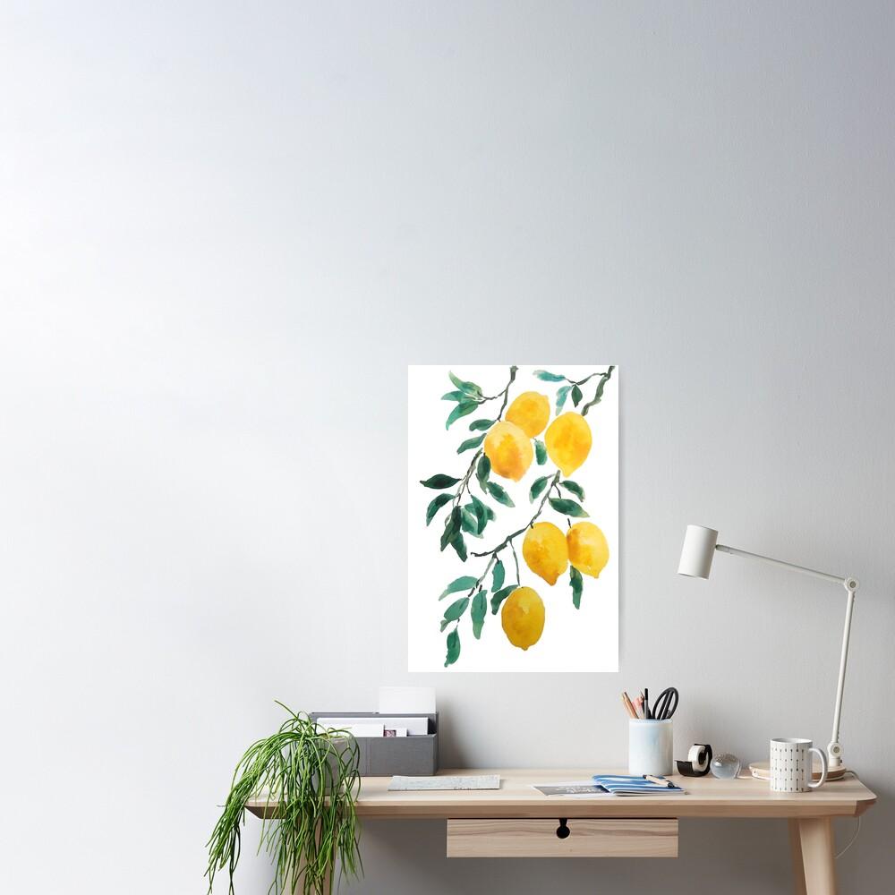 yellow lemon watercolor  Poster