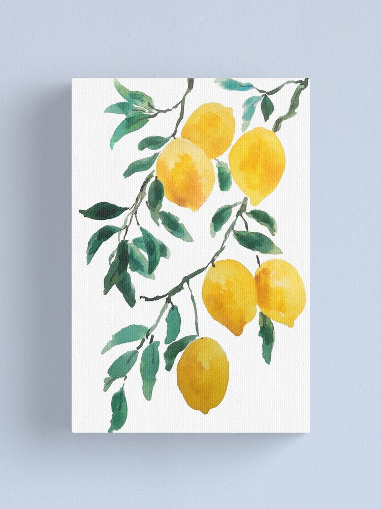 Alternate view of yellow lemon watercolor  Canvas Print