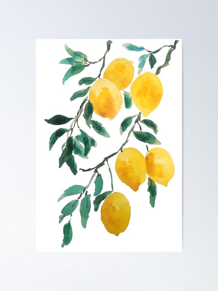 Alternate view of yellow lemon watercolor  Poster