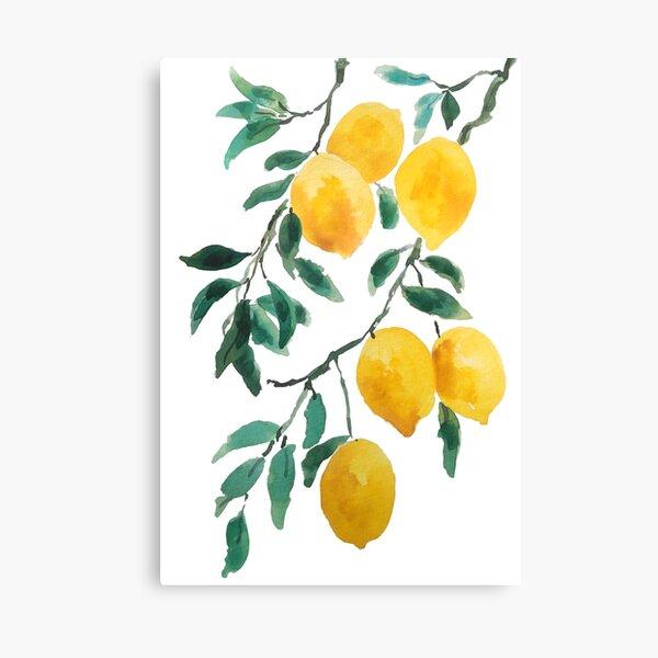 yellow lemon watercolor  Canvas Print