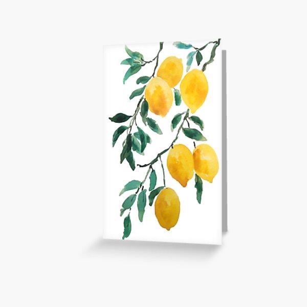 acuarela de limon amarillo Tarjetas de felicitación