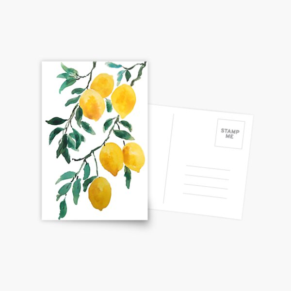 yellow lemon watercolor  Postcard