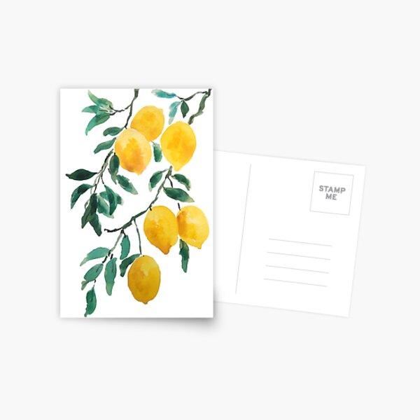 yellow lemon watercolor  Postcard