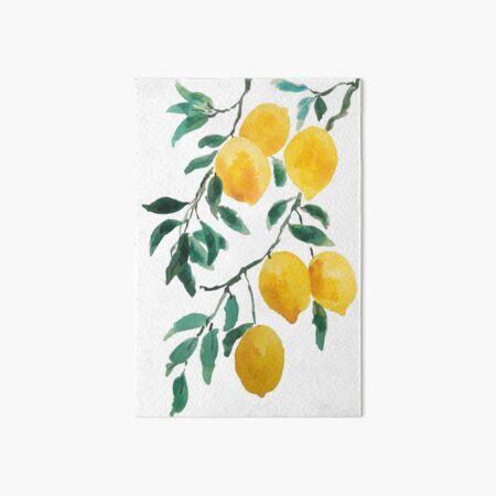 yellow lemon watercolor  Art Board Print