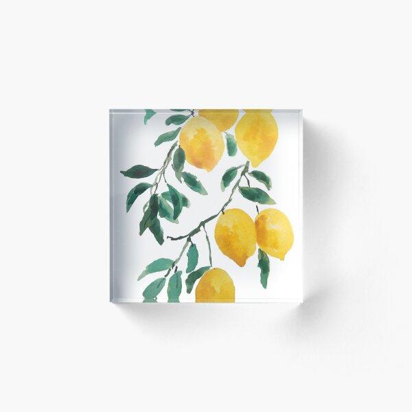 yellow lemon watercolor  Acrylic Block