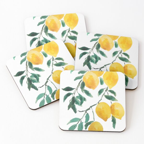 yellow lemon watercolor  Coasters (Set of 4)