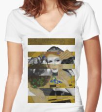Klimt's The Kiss & Rita Hayworth with Glenn Ford Women's Fitted V-Neck T-Shirt