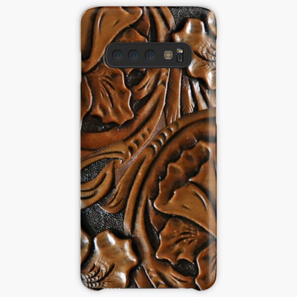 203, Faux Tooled Leather, Floral Etched Brown Samsung Galaxy Snap Case