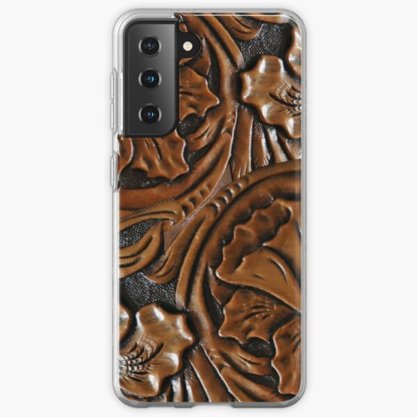 203, Faux Tooled Leather, Floral Etched Brown Samsung Galaxy Soft Case