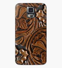 Faux Tooled Leather, Floral, Dark Chocolate Brown Case/Skin for Samsung Galaxy