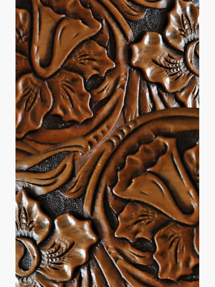 203, Faux Tooled Leather, Floral Etched Brown by Yapsalot