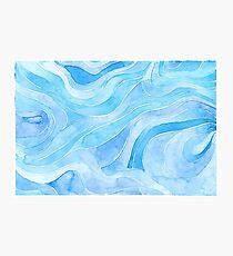 Blue palette doodle sea waves Photographic Print
