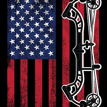 Archery Compound Bow USA Flag Distressed Design by kudostees
