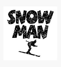 Snowman Ski Skier Skiing Photographic Print