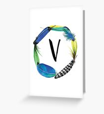 V | ALPHABET | Monogram | Name Day | Initial | Nursery Letter | Wall Decor | Watercolour | Feather | Baby | Printable | Dorm Decoration Greeting Card