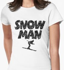 Snowman Ski Skier Skiing Women's Fitted T-Shirt