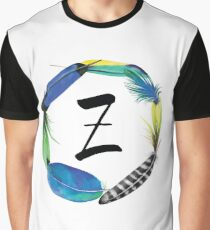 Z | ALPHABET | Monogram | Name Day | Initial | Nursery Letter | Wall Decor | Watercolour | Feather | Baby | Printable | Dorm Decoration Graphic T-Shirt