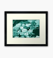 Bowl of Teal Roses Framed Print