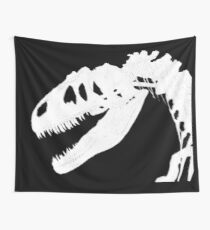 T-Rex Skeleton White Wall Tapestry