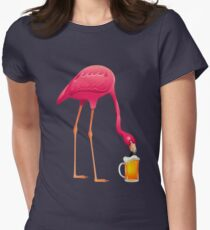 Pink Flamingo Party T-Shirt Beer Lover's Shirt Summer Lover Women's Fitted T-Shirt