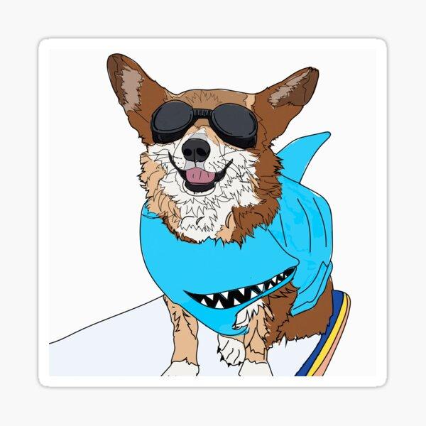 Catch a Wave Corgi Dog Sticker