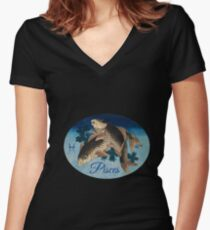 Pisces Zodiac Sign Women's Fitted V-Neck T-Shirt