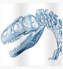 T-Rex Skeleton Blue Poster